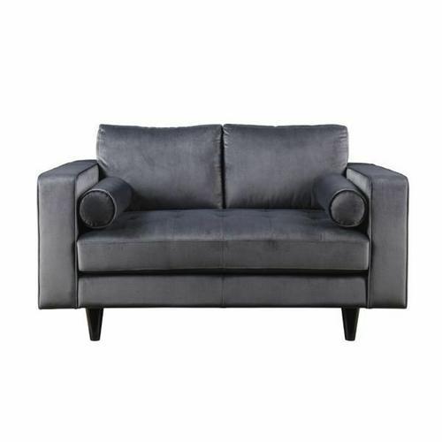 ACME Heather Loveseat w/2 Pillows - 51071 - Gray Velvet
