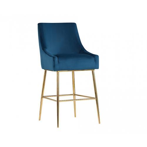 Gallery - Modrest Gleason Modern Blue Velvet Bar Stool