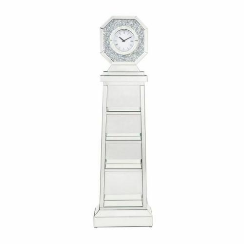 ACME Noralie Grandfather Clock - 97736 - Glam - Glass, MDF, Faux Diamonds (Acrylic), LED - Mirrored and Faux Diamonds