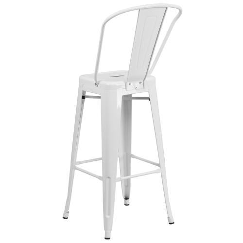 30'' High White Metal Indoor-Outdoor Barstool with Back
