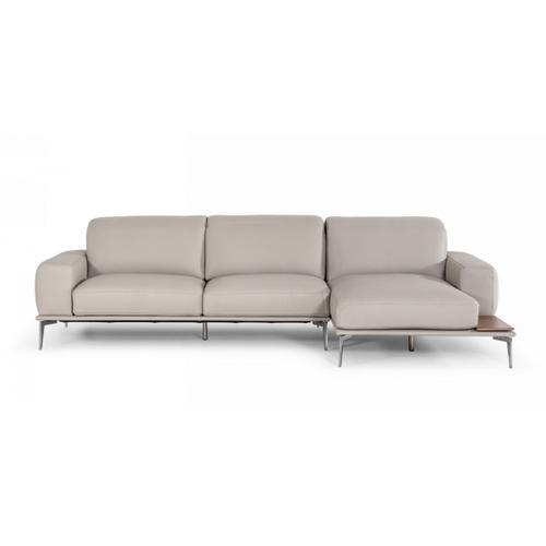 VIG Furniture - Estro Salotti Villeneuve - Italian Modern Light Grey Leather Right Facing Sectional Sofa