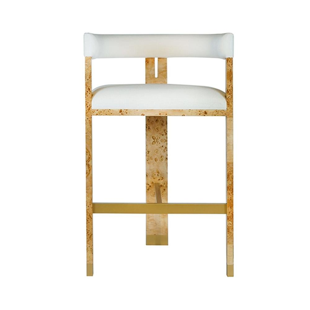Perfectly Tailored In Crisp White Linen Upholstery, the Barrel Back Connery Barstool Exudes Mid Century Mod Style and Attitude. Its Durable Tri-leg, Solid Oak Frame With Natural Burl Wood Finish Forms A Highly Sought-after Silhouette That's Perfect for All Occasions.