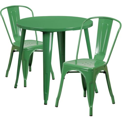 30'' Round Green Metal Indoor-Outdoor Table Set with 2 Cafe Chairs