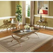 ACME Quintin 3Pc Pack Coffee/End Table Set - 80080 - Gold w/Brushed Bronze & Clear Glass