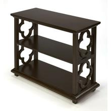 See Details - With its open quatrefoil sides, two shelves and open back, this timeless, classic bookcase brings heirloom appeal to the office or living room. Features a rich dark Chocolate finish.