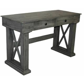 See Details - Charcoal Gray X Brace Writing Desk