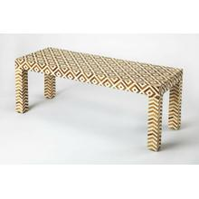 See Details - This gorgeous bench is a remarkable feat of design and craftsmanship. Geometric patterns adorn this piece with handcrafted bone and Teak inlay, cut and individually applied, against a resin grout background. Crafted from Meranti wood solids, Teak, and resin, it is perfect in an entryway, parlor or the base of your bed.
