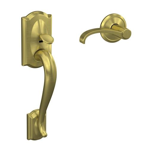 Custom Camelot Front Entry Handle and Whitney Lever with Alden Trim - Satin Brass