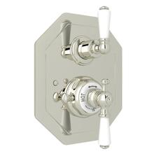 Edwardian Octagonal Concealed Thermostatic Trim with Volume Control - Polished Nickel with Metal Lever Handle