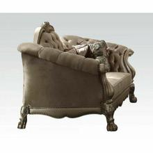 ACME Dresden Loveseat w/5 Pillows - 52091 - Bone Velvet & Gold Patina