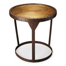 The Bonham side table is made of solid iron with studded legs and trim that add style to your classic space. The golden and rich rubbed brown colors give this table a soft glow that complements any area.