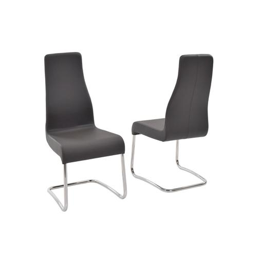 The Florence Italian Dark Gray Leather Dining Chairs
