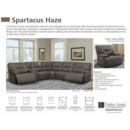 Parker House - SPARTACUS - HAZE Power Right Arm Facing Recliner