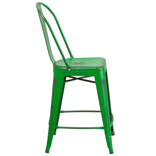 24'' High Distressed Green Metal Indoor-Outdoor Counter Height Stool with Back