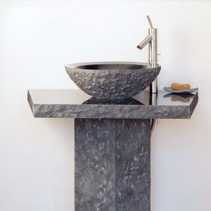 Vessel Pedestal and Pedestal Countertop Blue Gray Granite Product Image