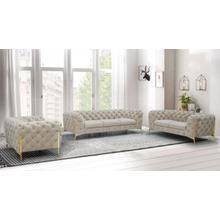 View Product - Divani Casa Quincey - Transitional Beige Velvet Sofa Set