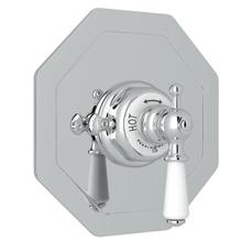 Edwardian Octagonal Concealed Thermostatic Trim without Volume Control - Polished Chrome with Metal Lever Handle