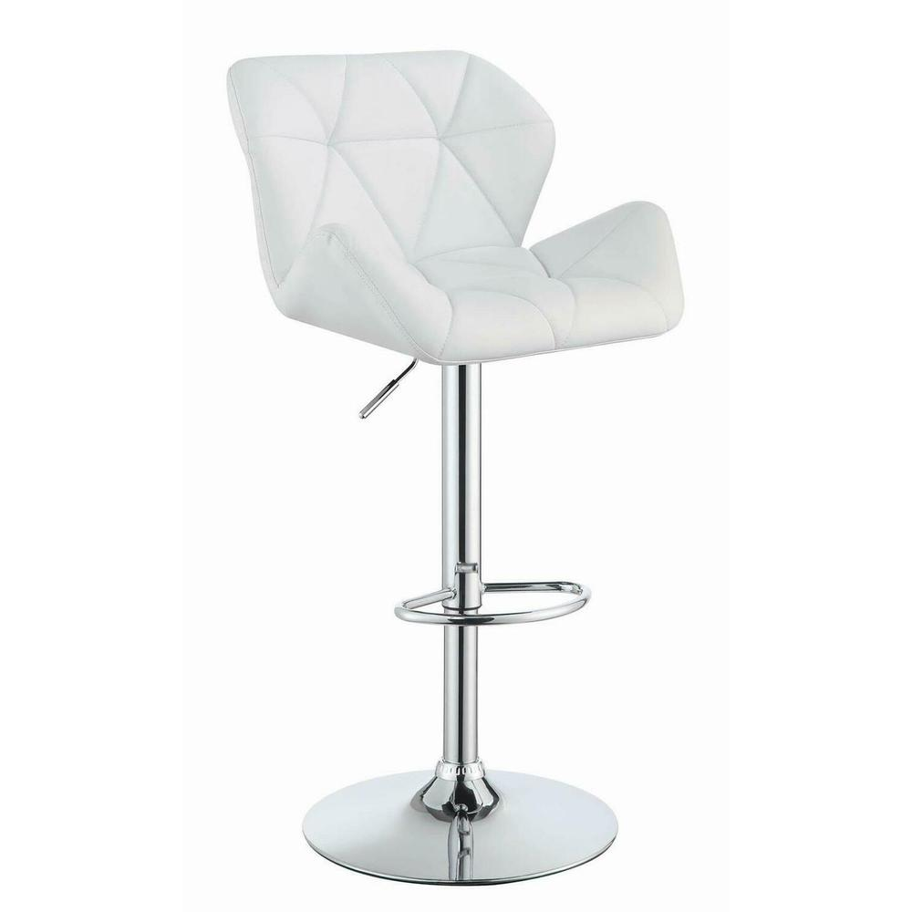 Contemporary White Adjustable Bar Stool