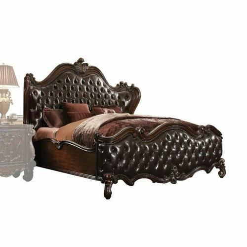 ACME Versailles Eastern King Bed - 21117EK - 2-Tone Dark Brown PU & Cherry Oak