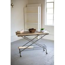 See Details - recycled wood console table with metal base, basket and casters