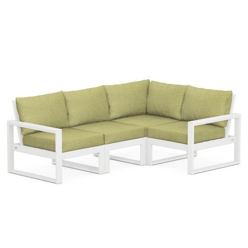 Polywood Furnishings - EDGE 4-Piece Modular Deep Seating Set in White / Chartreuse Boucle
