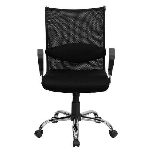 Mid-Back Black Mesh Swivel Manager's Chair with Adjustable Lumbar Support and Arms