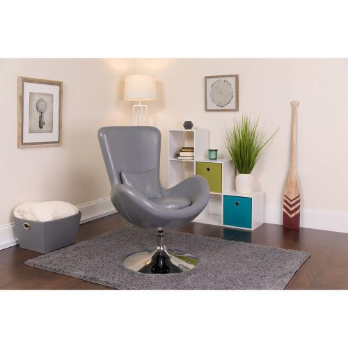 Gray Leather Side Reception Chair