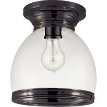 E. F. Chapman Edwardian 1 Light 10 inch Bronze Flush Mount Ceiling Light in Clear Glass, Open Bottom