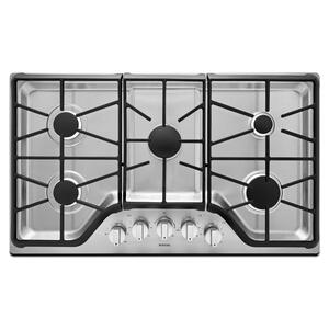 36-inch Wide Gas Cooktop with DuraGuard Protective Finish Stainless Steel -