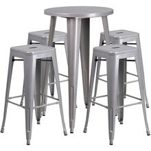 24'' Round Silver Metal Indoor-Outdoor Bar Table Set with 4 Square Seat Backless Stools