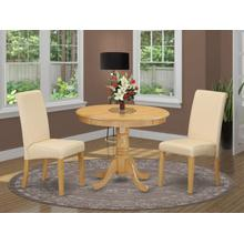3Pc Small Round table with linen beige fabric Parson chairs with oak chair legs