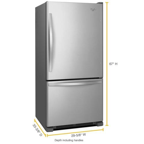 Whirlpool - 30-inches wide Bottom-Freezer Refrigerator with SpillGuard™ Glass Shelves - 18.7 cu. ft.