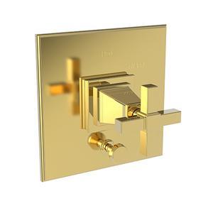 Polished Gold - PVD Balanced Pressure Tub & Shower Diverter Plate with Handle