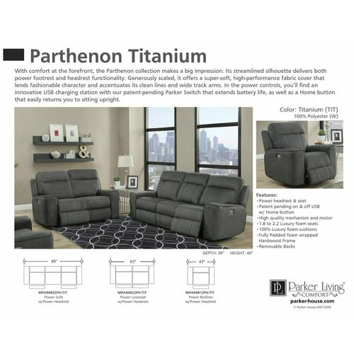 Parker House - PARTHENON - TITANIUM Power Loveseat