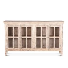 "Coral Gables 72"" Whitewash Glass Cabinet"