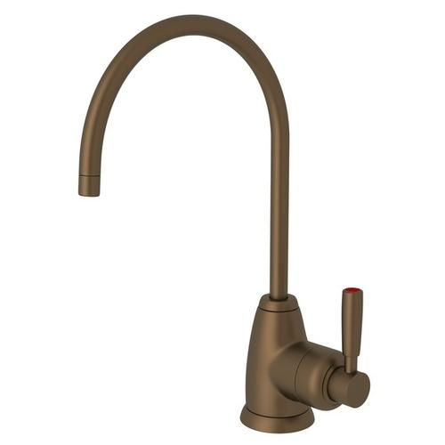 English Bronze Perrin & Rowe Holborn C-Spout Hot Water Faucet with Contemporary Metal Lever