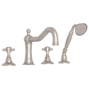 Satin Nickel Acqui 4-Hole Deck Mount Column Spout Tub Filler With Handshower with Crystal Cross Handle