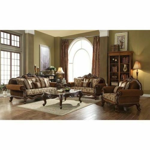 ACME Jardena Sofa w/6 Pillows - 50655 - Fabric & Cherry Oak