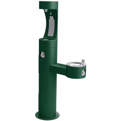 Elkay - Elkay Outdoor ezH2O Bottle Filling Station Bi-Level Pedestal, Non-Filtered Non-Refrigerated Freeze Resistant Evergreen