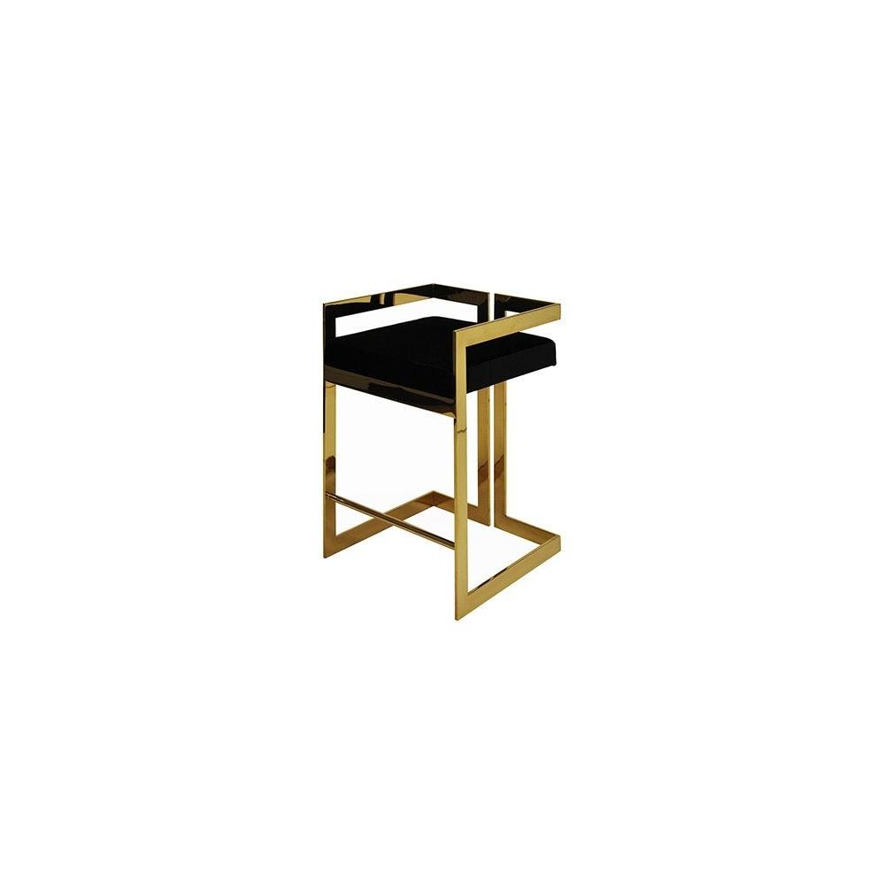 Our Emmett Counter Height Stool Is So Arresting You'll Want To Design the Entire Room Around It! A Pristine Black Velvet Cushion Sits Atop A Perfectly Symmetric Polished Brass Base, Creating an Undeniably Stylish and Modern Silhouette.