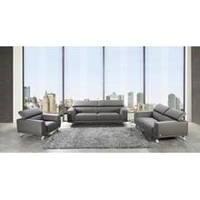 See Details - Divani Casa Brustle Modern Dark Grey Eco-Leather Sofa Set