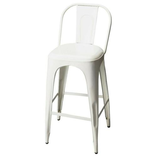Butler Specialty Company - This vintage look barstool will add retro flair to your space. Forged from iron components, it boasts a stylish white finish.