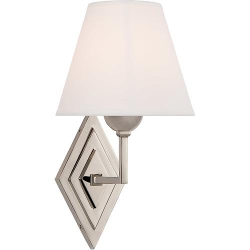 Alexa Hampton Bettina 1 Light 8 inch Polished Nickel Sconce Wall Light, Alexa Hampton, Natural Percale Shade
