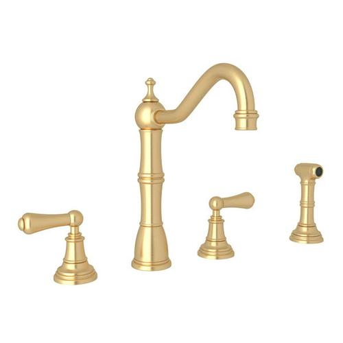 Edwardian 4-Hole Kitchen Faucet with Sidespray - Satin English Gold with Metal Lever Handle