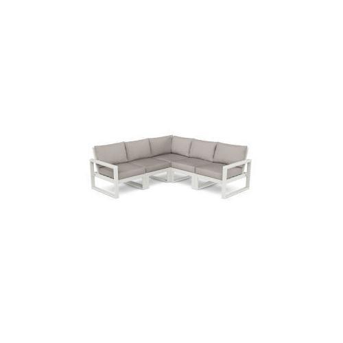 Polywood Furnishings - EDGE 5-Piece Modular Deep Seating Set in Vintage White / Weathered Tweed