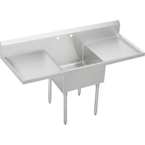 "Elkay Weldbilt Stainless Steel 72"" x 27-1/2"" x 14"" Floor Mount, Single Compartment Scullery Sink with Drainboard"