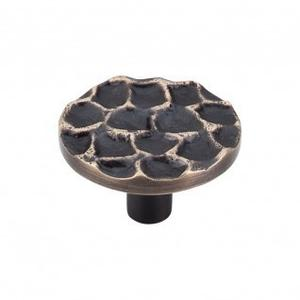 Cobblestone Round Knob 1 15/16 Inch - Brass Antique
