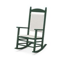 View Product - Jefferson Woven Rocking Chair in Green Frame / White Loom
