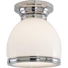 E. F. Chapman Edwardian 1 Light 10 inch Polished Nickel Flush Mount Ceiling Light in White Glass, Open Bottom