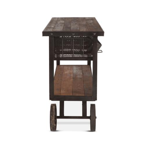 """Industrial Teak 48"""" Reclaimed Wood Utility Cart Table"""